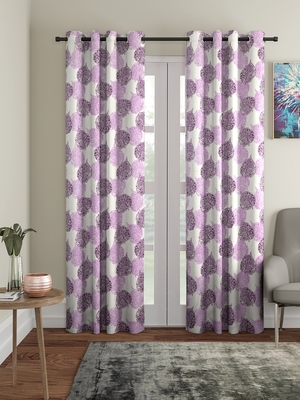 purple Polyester Plain Printed Door Curtains for Bedroom, Kitchen, Kids or Living Room