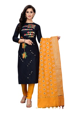 Women's black Embroideried Cotton silk unstitched sawlar with dupatta
