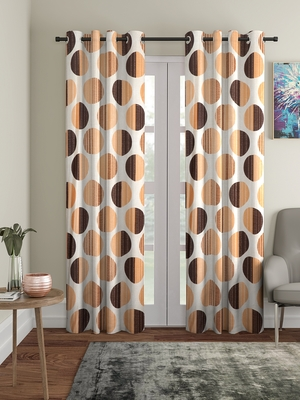 orange Polyester Plain Printed Door Curtains for Bedroom, Kitchen, Kids or Living Room