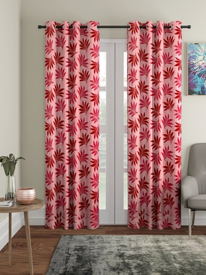pink Polyester Plain Printed Door Curtains for Bedroom, Kitchen, Kids or Living Room