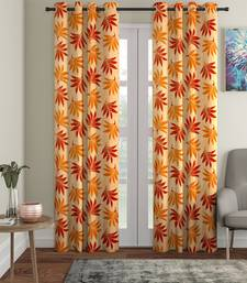 orange Polyester Plain Printed Door Curtains for Bedroom, Kitchen, Kids or Living Room