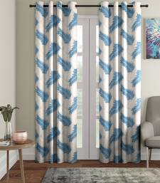 blue Polyester Plain Printed Door Curtains for Bedroom, Kitchen, Kids or Living Room