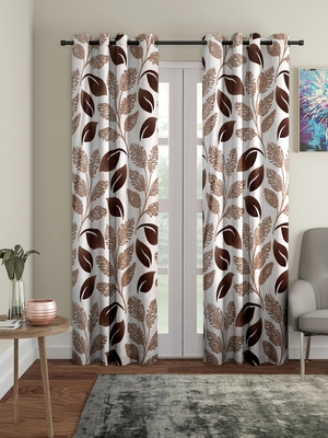 brown Polyester Plain Printed Door Curtains for Bedroom, Kitchen, Kids or Living Room