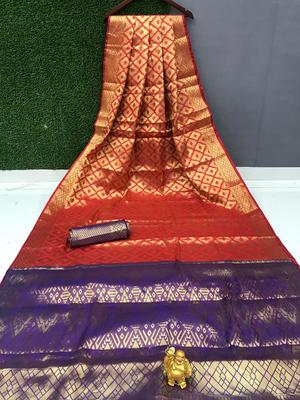 orange Chennai kanjivaram silk Saree With Attached Blouse