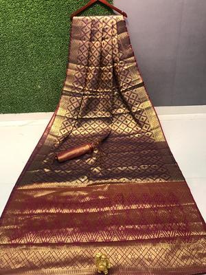 wine Chennai kanjivaram silk Saree With Attached Blouse