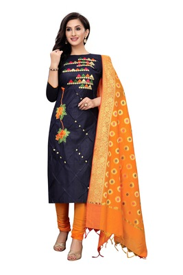 black embroidered unstitched salwar with dupatta