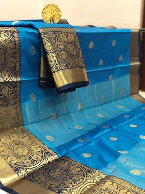 sky blue Aura Butta Cotton silk Saree With Attached Blouse