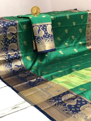green Aura Butta Cotton silk Saree With Attached Blouse