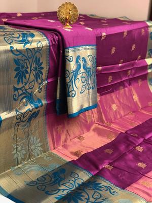magenta Aura Butta Cotton silk Saree With Attached Blouse