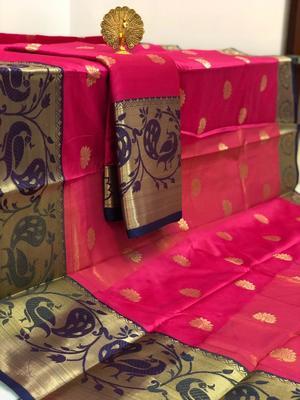 pink Aura Butta Cotton silk Saree With Attached Blouse