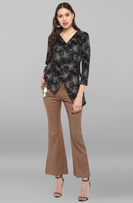 Women's Black Printed Top With Trouser