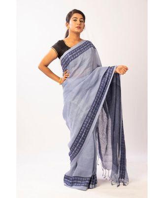 Blue Bengal linen Jamdaani saree