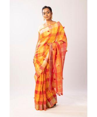 Yellow Bengal linen Handloom with zari saree