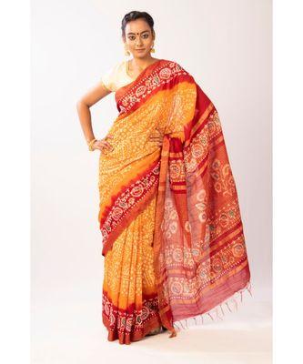 Mustard Bengal Cot Silk Zari Batik Printed saree with blouse