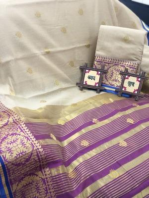 cream Cotton Butta Pure Cotton silk Saree With Attached Blouse
