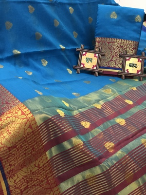 Turquoise Cotton Butta Pure Cotton silk Saree With Attached Blouse