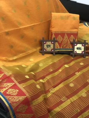 mustard Cotton Butta Pure Cotton silk Saree With Attached Blouse