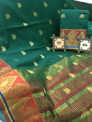 green Cotton Butta Pure Cotton silk Saree With Attached Blouse