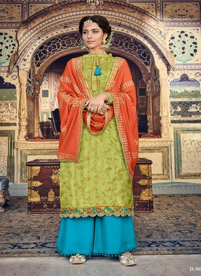 Parrot-green embroidered georgette salwar