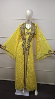 Yellow Zari Work Chiffon Polyester Islamic Party Wear Festive Kaftan