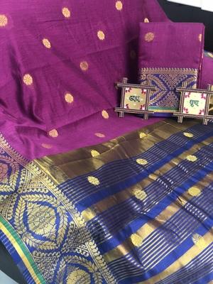 purple Cotton Butta Pure Cotton silk Saree With Attached Blouse