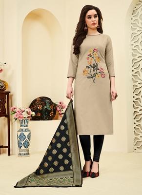 Beige floral print blended cotton salwar