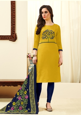 Yellow floral print blended cotton salwar