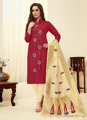 Maroon floral print blended cotton salwar