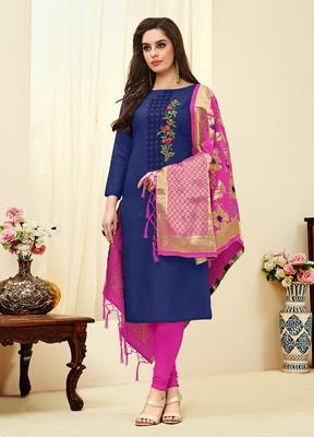 Navy-blue floral print blended cotton salwar