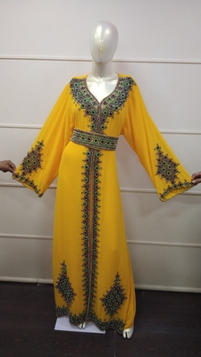 Yellow Zari Work Chiffon Polyester Islamic Party Wear Festive Kaftan Jacket