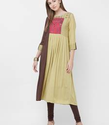 Green embroidered cotton kurtas-and-kurtis