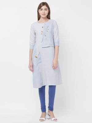 Blue printed cotton kurtas-and-kurtis