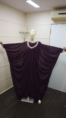 Wine Zari Work Chiffon Polyester Islamic Party Wear Festive Kaftan Farasha