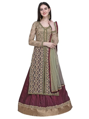 Gold embroidered net kurta with lehenga