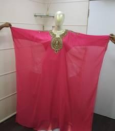 Peach Zari Work Chiffon Polyester Islamic Party Wear Festive Kaftan Farasha