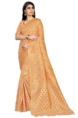 Light orange woven banarasi saree with blouse
