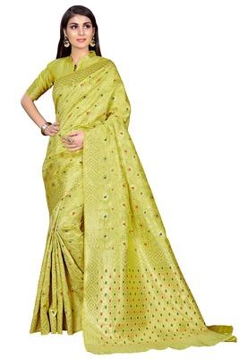Lime woven banarasi saree with blouse