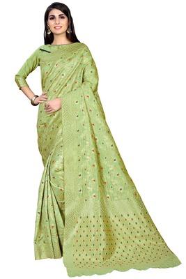 Light green woven banarasi saree with blouse