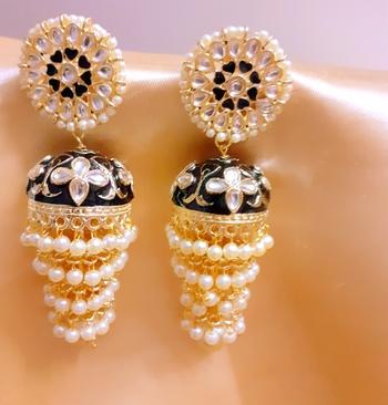 Black 3-layered kundan earrings