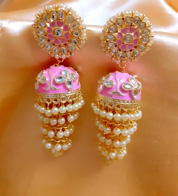 Pink 3- layered kundan earrings