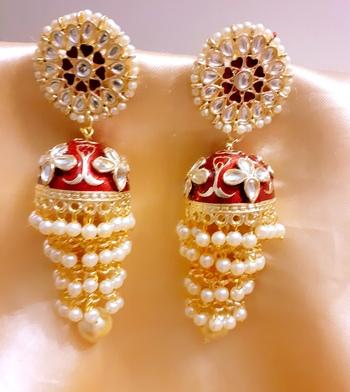 Maroon 3-layered kundan earrings