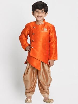 Orange Woven Cotton Silk Boys-Sherwani