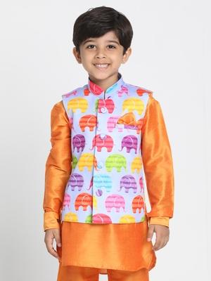 Orange Printed Silk Blend Boys Nehru Jacket