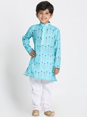 Blue printed silk blend boys-kurta-pyjama