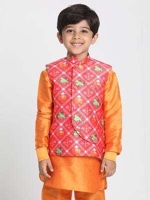 Orange Printed Silk Blend Boys-Nehru-Jacket
