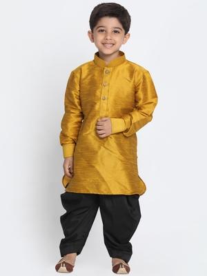 Gold Printed Silk Blend Boys Dhoti Kurta