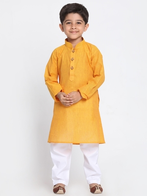 Yellow printed cotton boys-kurta-pyjama