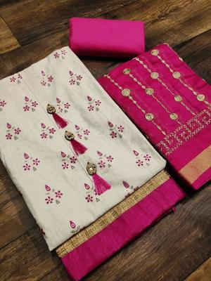 off white printed khadi unstitched salwar with dupatta