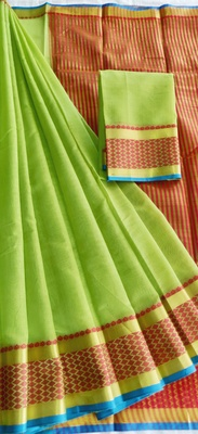 parrot green woven cotton saree with blouse