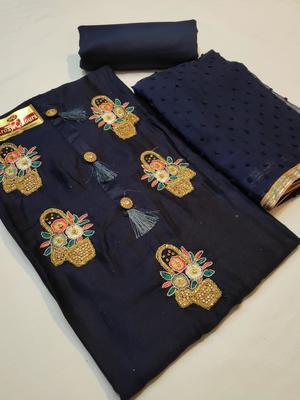 navy blue embroidered cotton unstitched salwar with dupatta